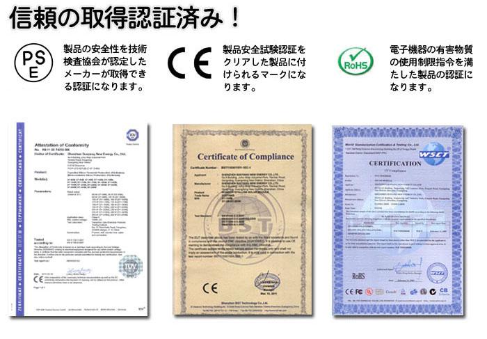 各種認証取得済みの商品品質